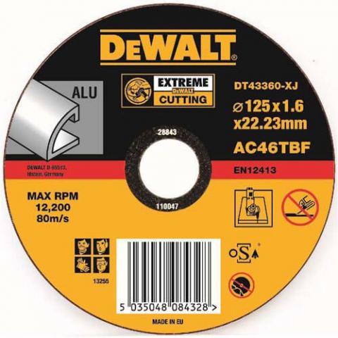 Купить аксессуары Круг отрезной по алюминию диаметр 125 мм DeWALT DT43360 фирменный магазин Украина. Официальный сайт по продаже инструмента DeWALT