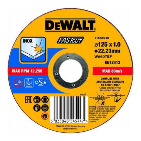 Купить аксессуары Круг отрезной по металлу INOX FASTCUT 125 мм DeWALT DT43902 фирменный магазин Украина. Официальный сайт по продаже инструмента DeWALT