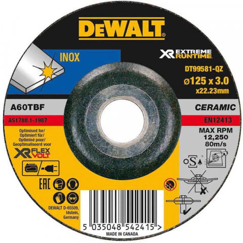 Купить аксессуары Круг шлифовальный по металлу XR INOX диаметр 125 мм DeWALT DT99581 фирменный магазин Украина. Официальный сайт по продаже инструмента DeWALT