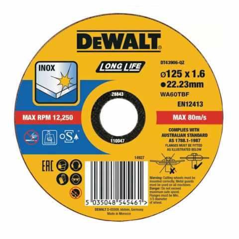Купить Круг отрезной DeWALT DT43906. Инструмент DeWALT Украина, официальный фирменный магазин