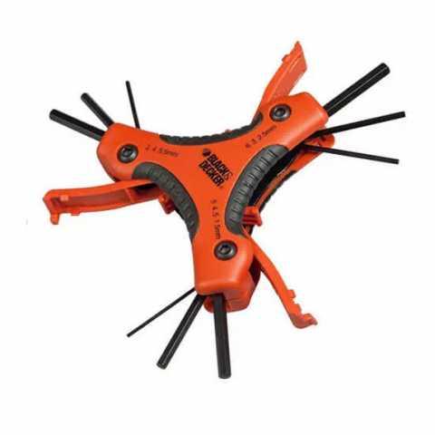 Купить Набор ключей шестигранных торцевых 9 шт BLACK+DECKER BDHT0-71628. Инструмент Black Deker Украина, официальный фирменный магазин
