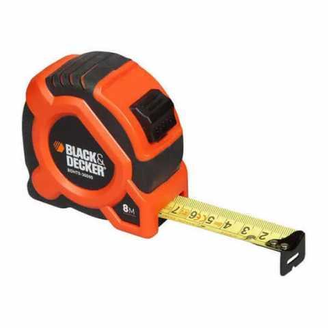 Купить Рулетка измерительная GRIP TAPE 8 метров BLACK+DECKER BDHT0-30099. Инструмент Black Deker Украина, официальный фирменный магазин