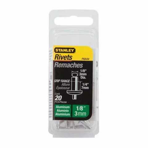 Купить Заклепка алюминиевая диаметром 4 мм, рабочей длиной 3 мм, 20 штук в упаковке STANLEY 1-PAA52T. Инструмент DeWALT Украина, официальный фирменный магазин