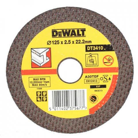Купить аксессуары Круг отрезной по металлу диаметр 125 мм DeWALT DT3410-QZ фирменный магазин Украина. Официальный сайт по продаже инструмента DeWALT