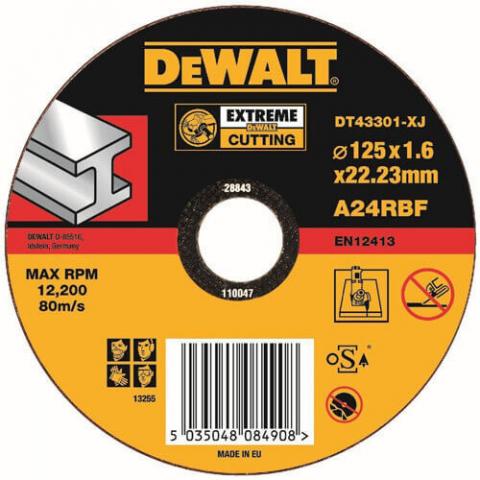 Купить аксессуары Круг отрезной по металлу диаметр 125 мм DeWALT DT43301 фирменный магазин Украина. Официальный сайт по продаже инструмента DeWALT