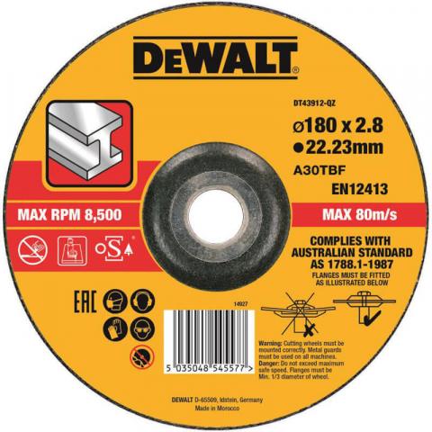 Купить аксессуары Круг отрезной по металлу диаметр 180 мм DeWALT DT43912 фирменный магазин Украина. Официальный сайт по продаже инструмента DeWALT