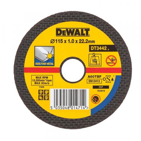 Купить аксессуары Круг отрезной по металлу INOX диаметр 115 мм DeWALT DT3442-QZ фирменный магазин Украина. Официальный сайт по продаже инструмента DeWALT