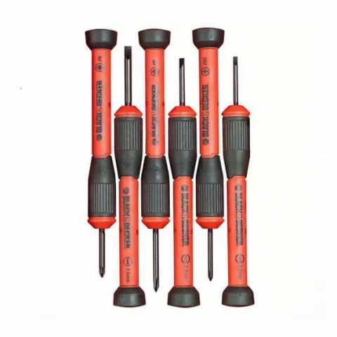 Купить Набор отверток для точной механики 6 шт BLACK+DECKER BDHT0-66428. Инструмент Black Deker Украина, официальный фирменный магазин